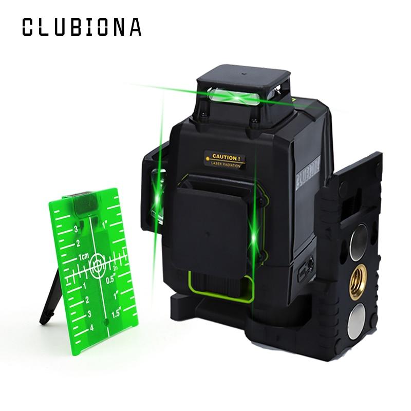 Clubiona m12g 12 linhas 3d nível de laser verde 360 graus auto-nivelamento do diodo de laser do tipo alemão linha horizontal e vertical
