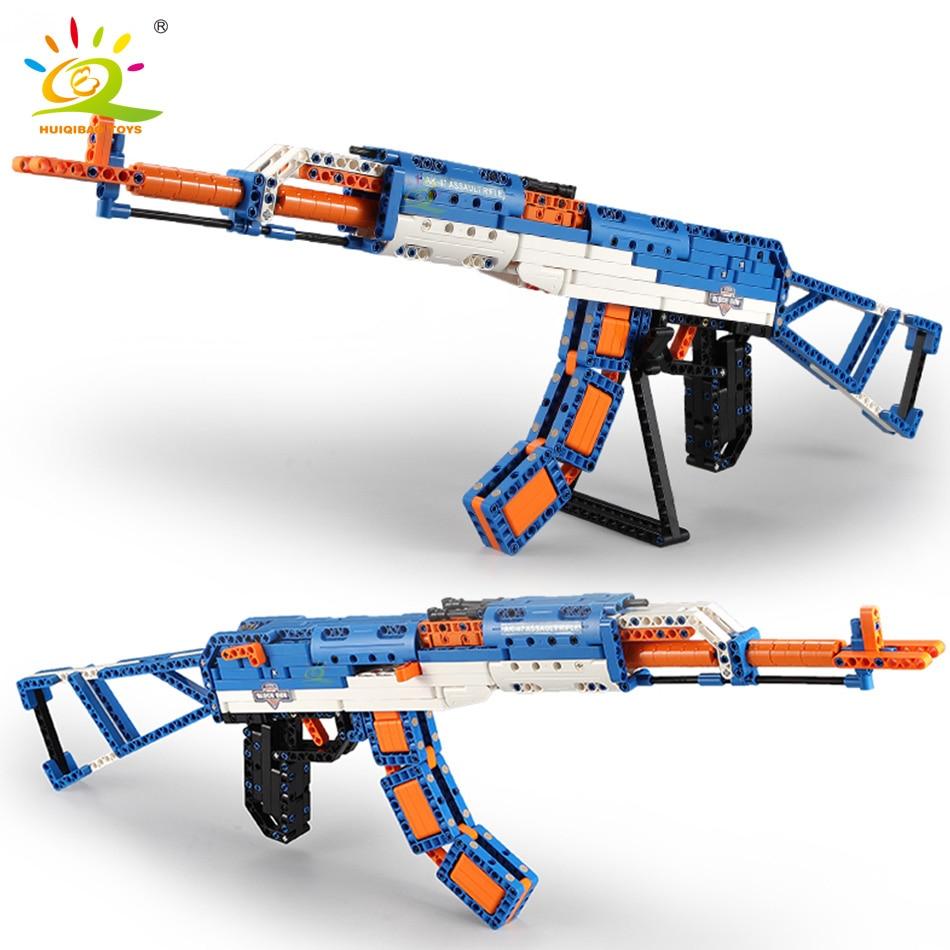 HUIQIBAO 498PCS AK-47 Assault Rifle Model Building Blocks Set Technical Military Weapon Bricks City Game Gun Toys For Children