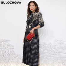 2021 Spring Designer Women Fashion Single-Breasted Shirt Sleeve Party Long Dress High Quality Print