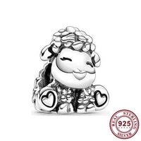 100 925 sterling silver bead new fashion small sheep beads fit pandora women bracelet necklace diy jewelry