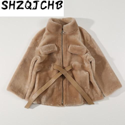JCHB-abrigo de piel auténtica 2021 para Mujer, chaqueta de piel de oveja...