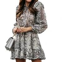 snake print dress women sukienka lantern long sleeve shirt dress robe leopard femme 2021 mini dress sexy night club wear vestido