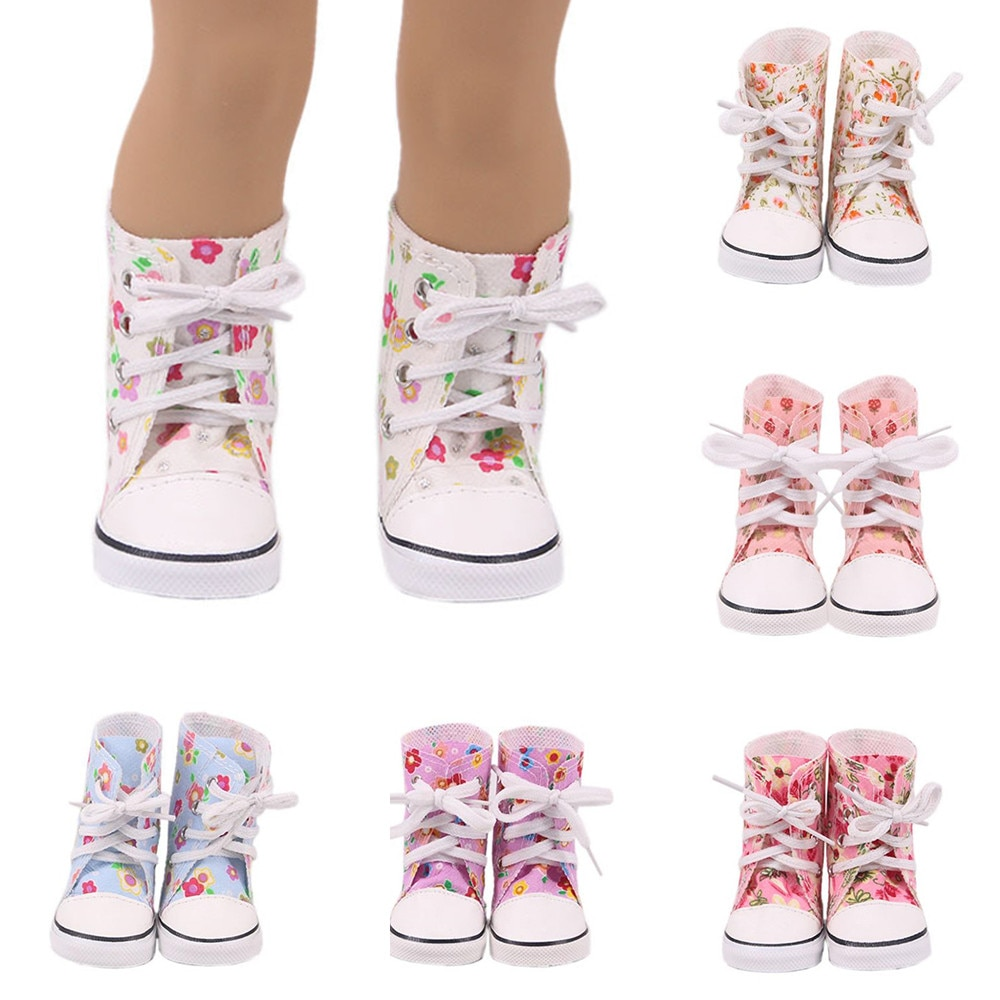 Doll Shoes Fit for 43cm Height Doll 7cm High-top Canvas Shoes Boots for 18 Inch American Doll Our Generation Girl`s Toy Gift недорого