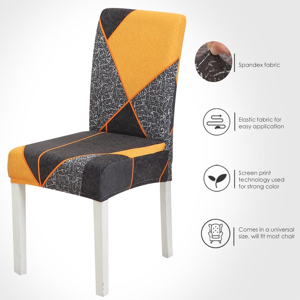 Funda para silla de comedor geométrica de licra, cubierta para silla elástica,...