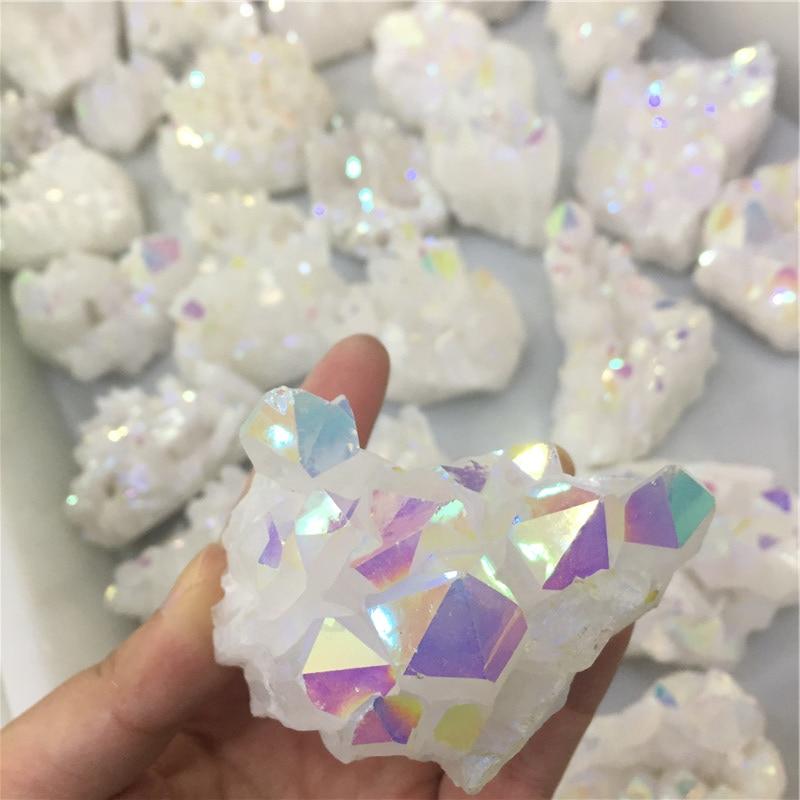 50 г оптовая продажа белый Ангел Аура кварцевый точечный гальванический кристаллический кластер