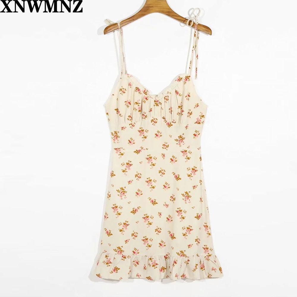 XNWMNZ za women Vintage spaghetti strap Summer Dress Sexy Floral Print Cream Chiffon vestido Fashion slim Ruffles women dress