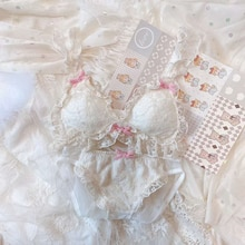 Cute Japanese Lace Bra and Panty Set Lolita Underwear Women Thin Wire Free Cat Bra Kawaii Lingerie Bralette Panties Intimates