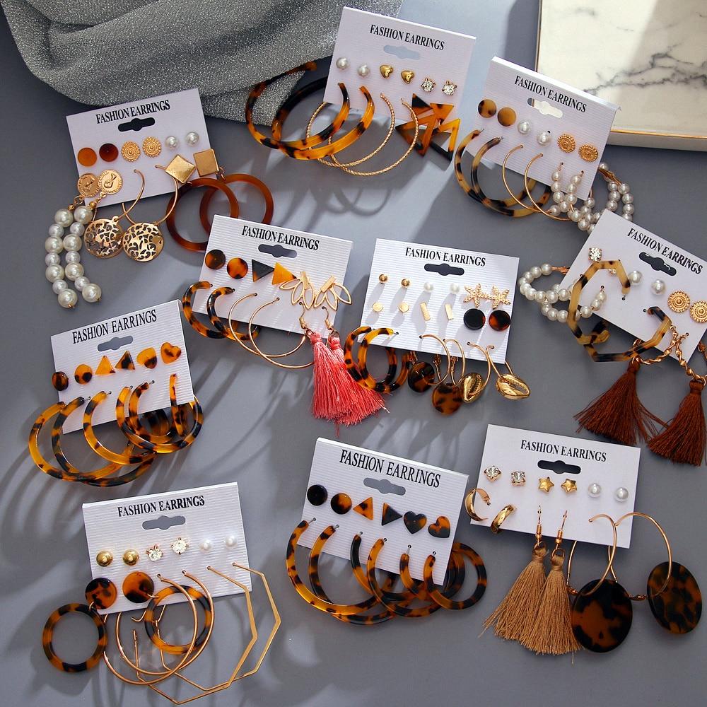 VKME, pendientes para mujer, conjunto de joyería brincos de moda, pendientes de gota de cristal acrílico con borla, 2020, nuevo regalo de joyería boho