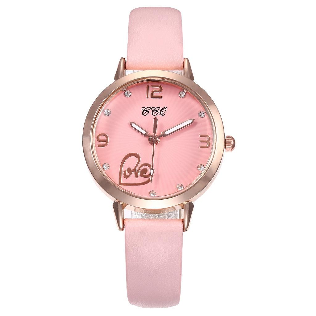 Zegarki Damskie Dot tarcza z cyframi panie prosty kwarcowy zegarek jednolity kolor skórzany pasek zegar sukienka prezent Zegarki Damskie 533