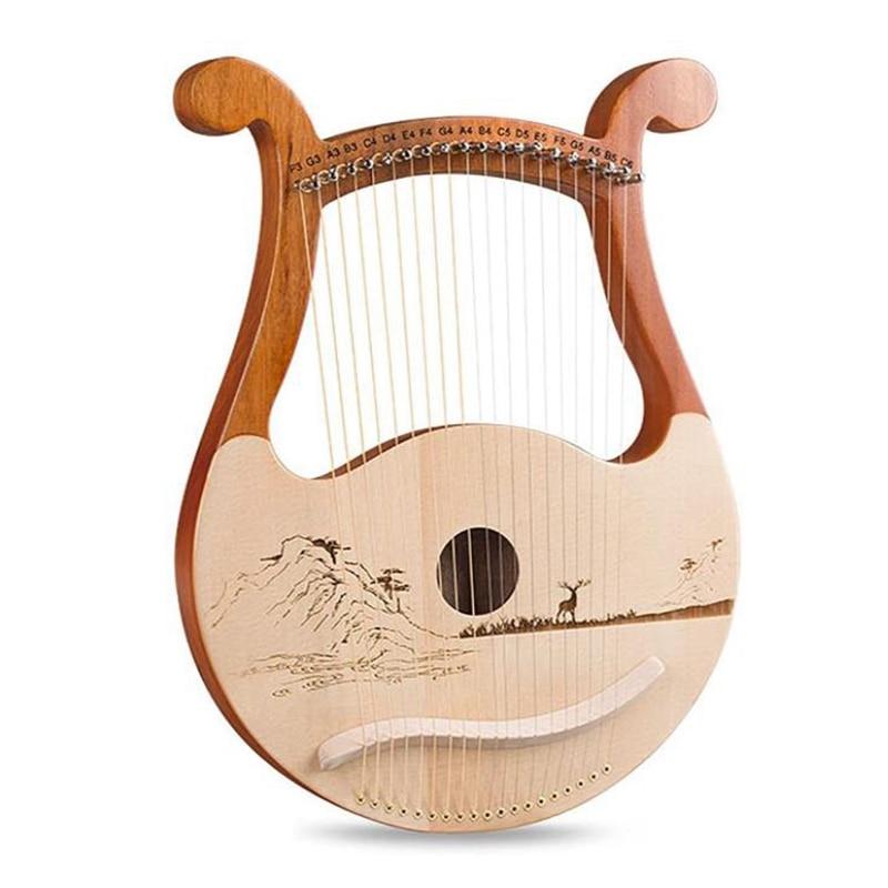 Lyre Harp ، 19 سلسلة الخشب الغسول القيثارة ، 19 سلسلة Lyre أنماط فريدة من نوعها منحوتة الرموز الصوتية ، لمحبي الموسيقى المبتدئين ، الخ
