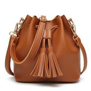 Women's Shoulder Bag Magnetic Suction Buckle Super Large Capacity Spring New Women's Tassel Bucket Bag Portable Messenger Bag
