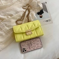 european style small square bag fashion candy color quality pu leather women shoulder messenger bag metal chain female handbag