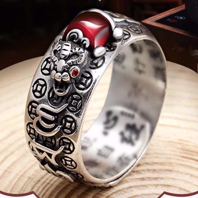 Vintage Dominierenden Männer Ring Nationalen Stil Pi Xiu Ring Feng Shui Reichtum Gute Glück Schmuck Buddhistischen Herz Sutra Ring Schmuck