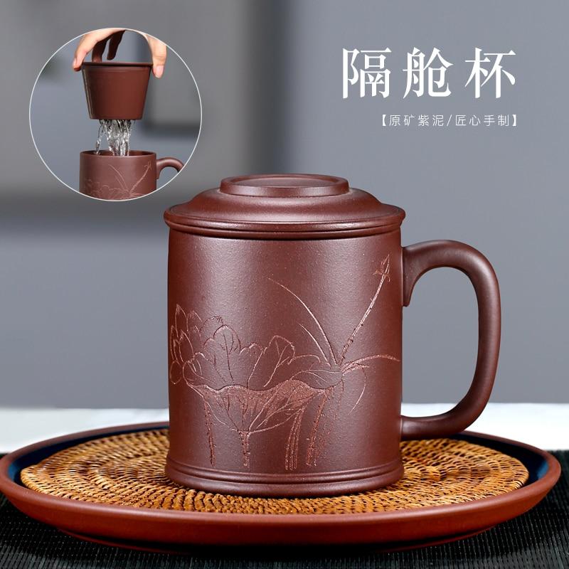 Tao yiyixing purple sand cup run of mine minério puro mão-feita chá capa copo roxo lotus copo contendo tanque de lama 500 cc