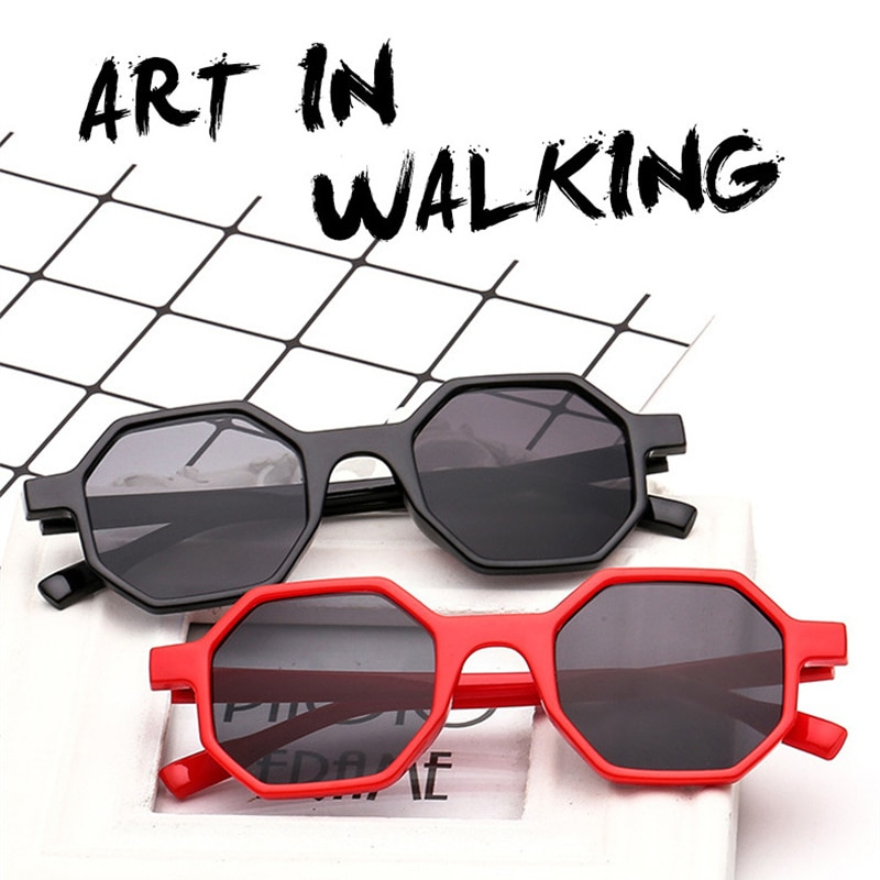 Small Sunglasses Women Vintage Polygon Black Pink Red Sun Glasses Fashoin Glasses Retro Brand Eyegla