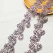 4.5cm Wide Gray Fine Water Soluble Embroidery Tulle Lace Fabric Ribbon DIY Vestido De Renda Dentelle Ruban Encaje Trim