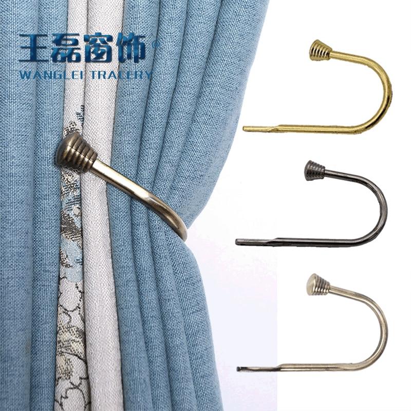 Tieback de la cortina de ganchos corbata espalda dormitorio habitación cortina accesorios de decoración de la retención del gancho de cortina de metal
