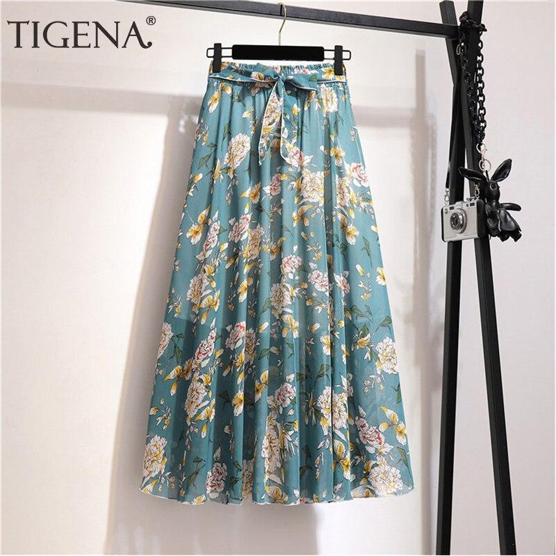 Tigena floral impressão chiffon saia longa moda feminina 2020 verão boho férias a linha de cintura alta saia plissada feminina com cinto