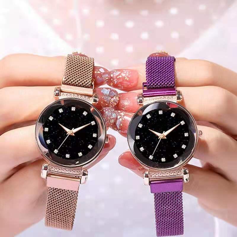 Ladies Magnetic Starry SHS Clock Luxury Women Watches Fashion Diamond Female Quartz Wristwatches Rel
