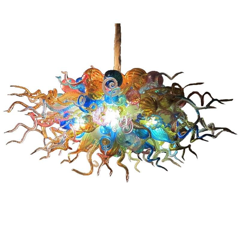 مصباح سقف LED معلق من زجاج مورانو ، تصميم حديث ، لون برتقالي ، إضاءة داخلية ، إضاءة سقف مزخرفة ، مثالي لغرفة المعيشة أو الحمام.