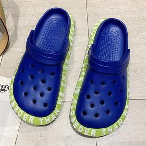 Couple hole sandals 2021 summer new women's slides bottom fashion casual large size shoes women platform slippers mens sandalias