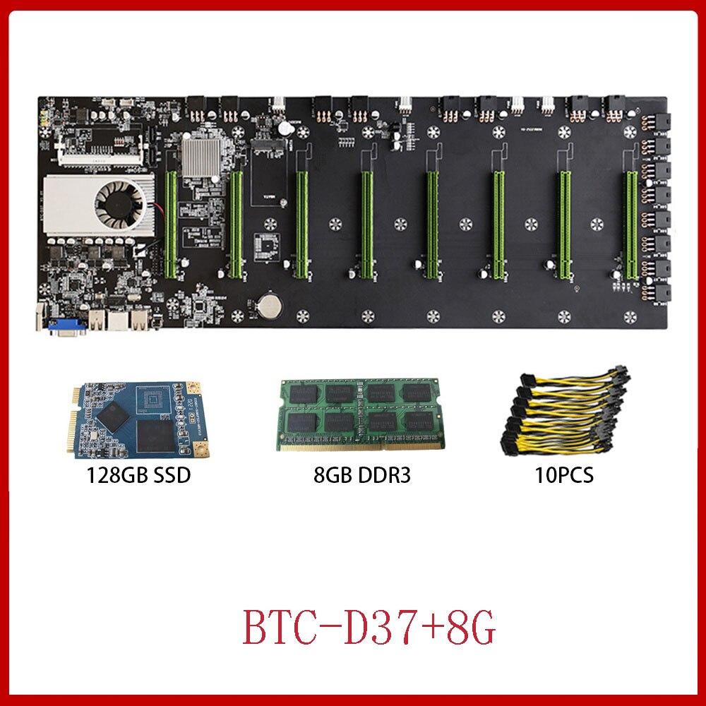 BTC-D37 التعدين اللوحة الأم 8CPU بيتكوين التشفير ايثروم التعدين مع 4GB DDR3 128GB MSATA SSD 10X8Pin كابل الطاقة