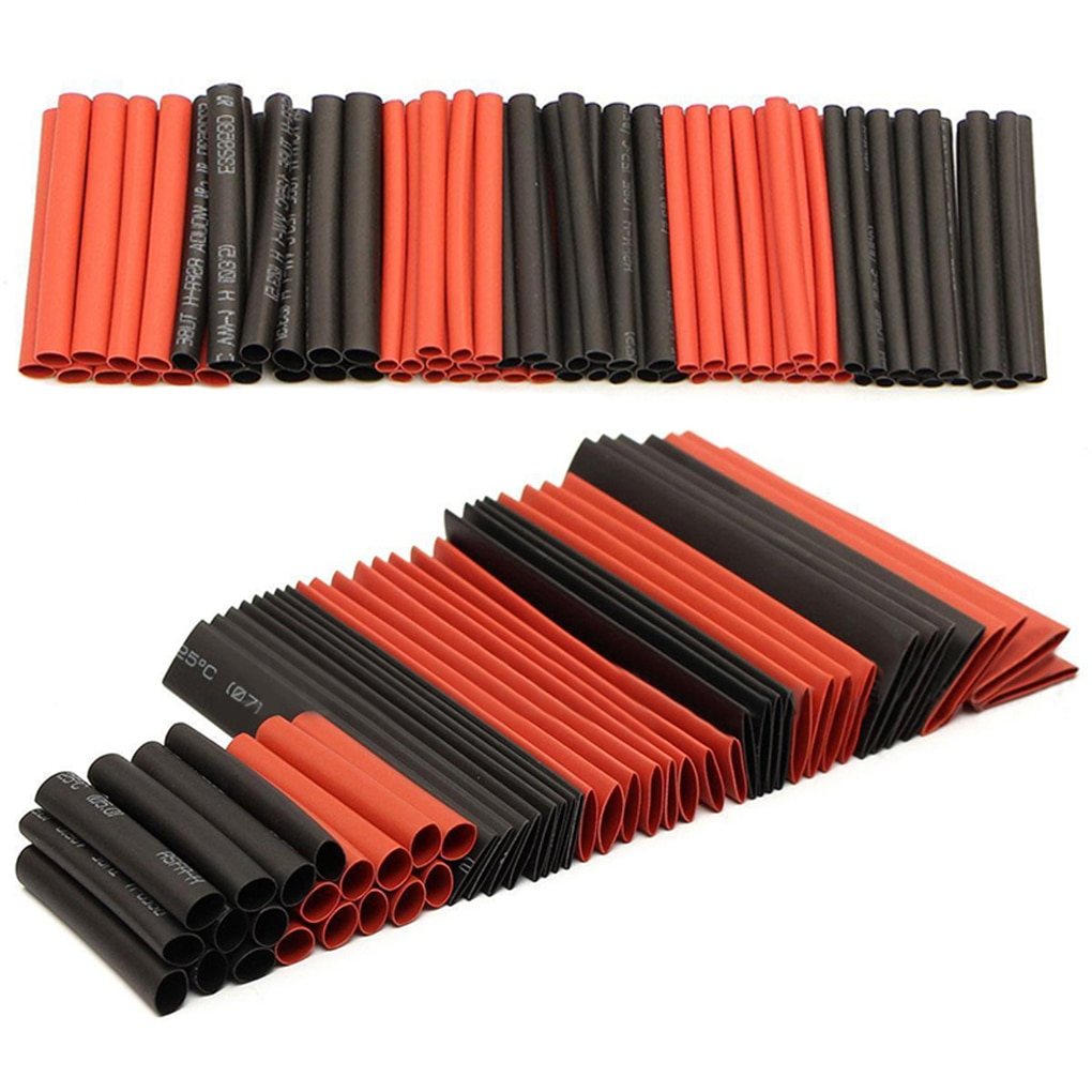 127PCS/Set Heat Shrink Tubing Electrical Wrap Wire Cable Sleeves PE 2:1 Insulated Sleeving Assorted Black-Red set