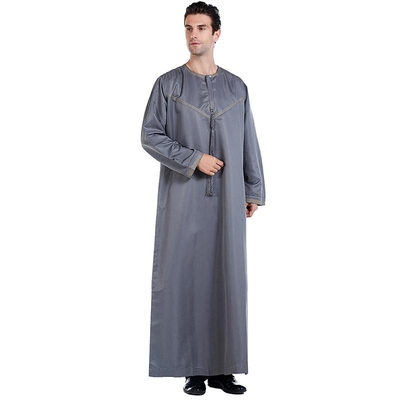 Saudi Arabian men's long-sleeved round neck Ramadan mosque robe Muslim men's dress Islamic Turkey Dubai Arab Emirates skirt
