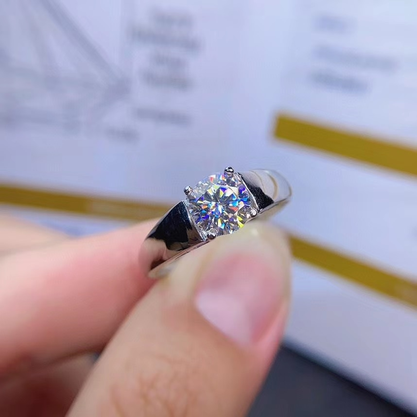 Anillo de moissanita sin señales crujido para mujer, joyería, anillo de compromiso para boda, anillo de plata 925, regalo de cumpleaños para chica