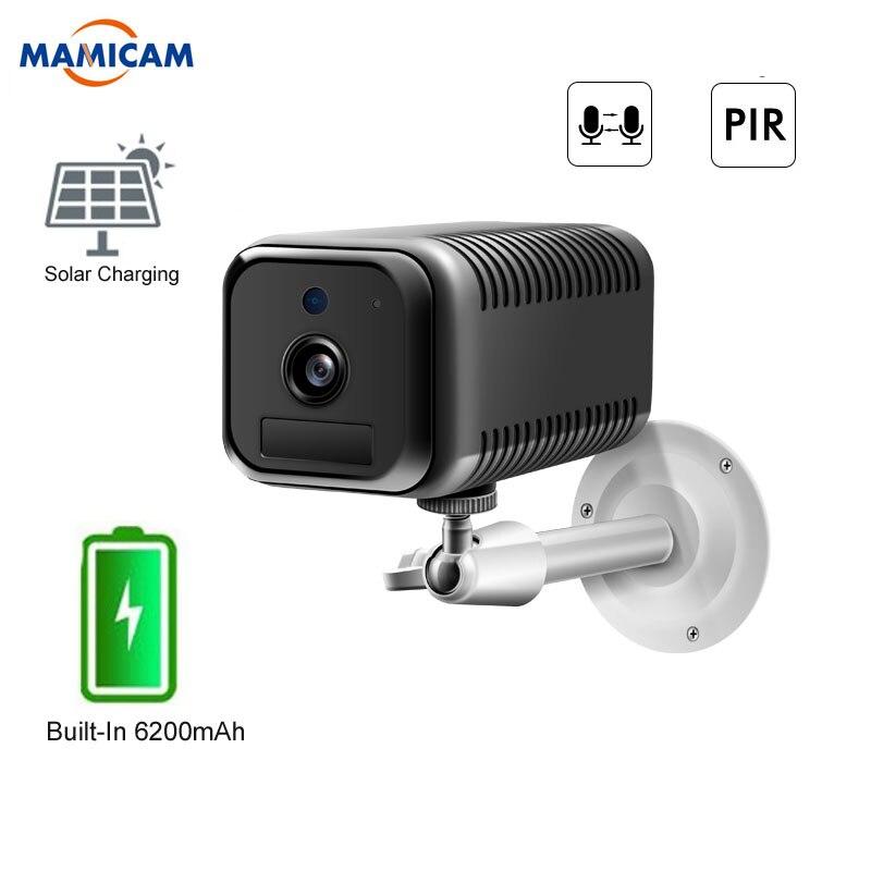 Cámara de seguridad IP inalámbrica con WiFi de carga de energía Solar HD de 1080P y 2MP, cámara de vigilancia con batería recargable, cámara de vídeo en bucle PIR