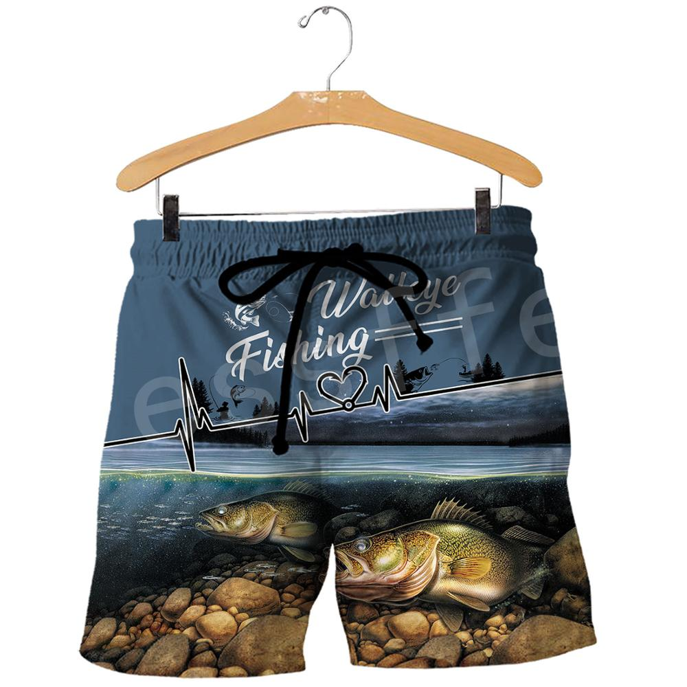 Tesselfel, nueva moda, pantalones cortos Unisex con estampado de Animal Marlin, bajo, caza, pesca, cazador, Camuflaje, Casual 3DPrint, pantalones cortos de verano para hombres y mujeres, s-1