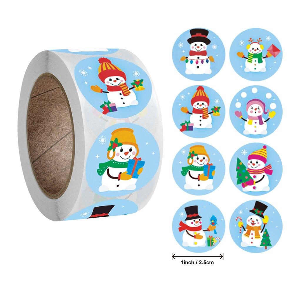 500 шт./рулон 1 дюймов Рождественский наклейка-снеговик для детей Рождественский декоративный подарок серии клеящаяся этикетка недорого