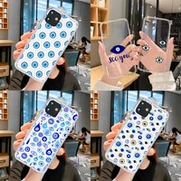 phone case for iphone 12 pro max 6 6s 7 8 x xs xr 11 pro max se 2020 cover soft cute lucky eye blue evil print flower hand funda