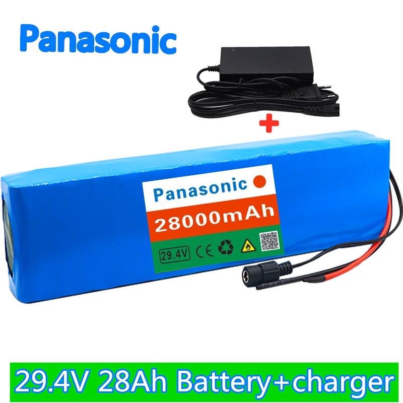 Panasonic 7S4P 24V 28Ah motor de bicicleta eléctrica, ebike scooter, batería de ion de litio, paquete de 29,4 V 18650 baterías recargables + cargador