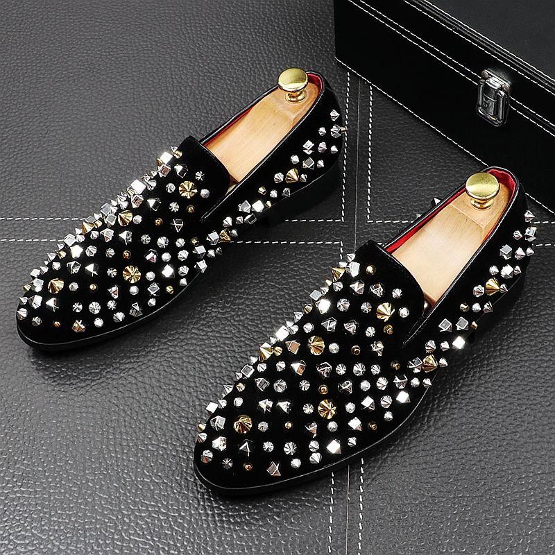 Zapatos De vestir De moda para hombre, mocasines planos con remaches PUNK,...