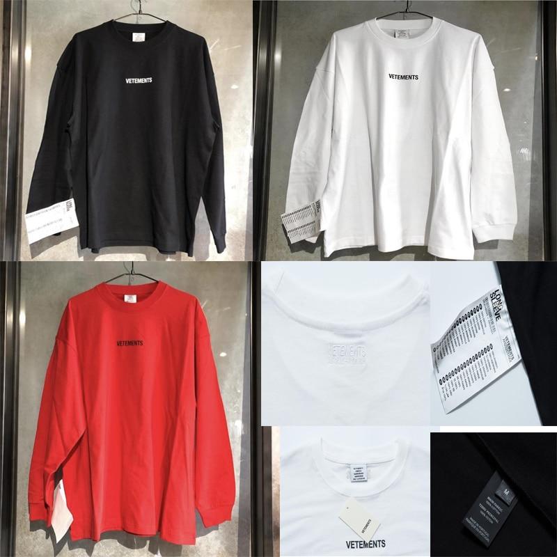 19SS Vetements Camiseta de manga larga de gran tamaño 11 de alta calidad con logotipo bordado en la espalda ropa de calle camisetas hombres y mujeres