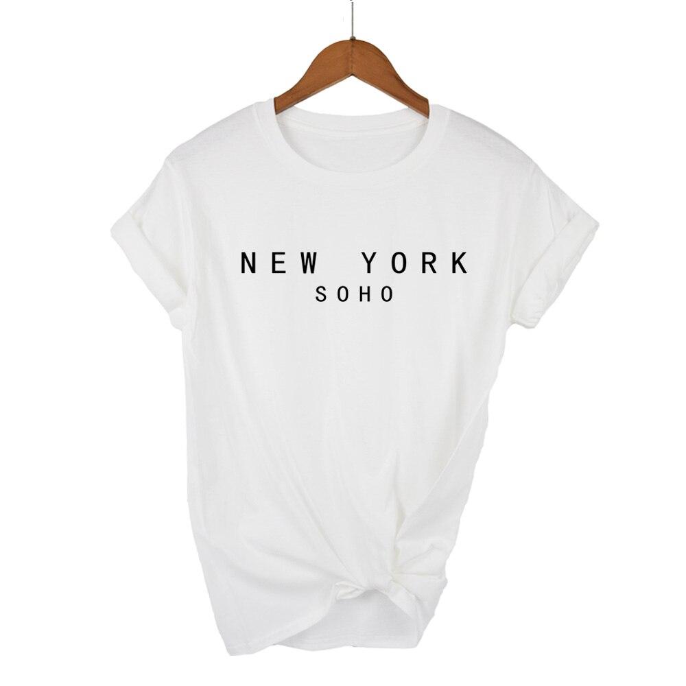 2020 New York Soho Lettera Delle Donne Magliette di Cotone Casual Divertente T Shirt per La Signora Top Tee Pantaloni a Vita Bas