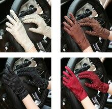 Винтажные женские перчатки с принтом в горошек, защита от солнца, наручные перчатки, трикотажные женские варежки, эластичные перчатки для в...