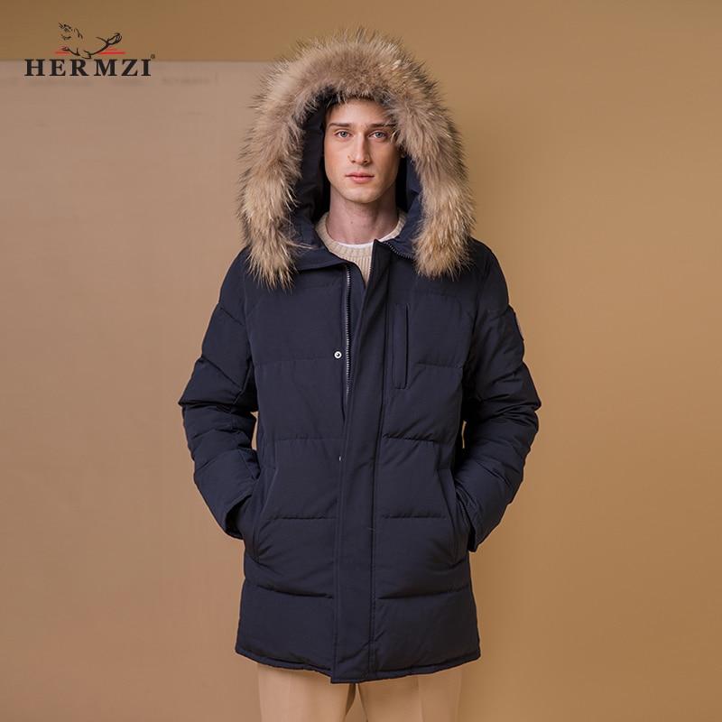 HERMZI 2020 abrigo de invierno para hombre chaqueta acolchada de algodón Alaska Parka para hombre abrigo grueso de invierno Parkas para hombre Cuello de piel de mapache Tamaño ruso