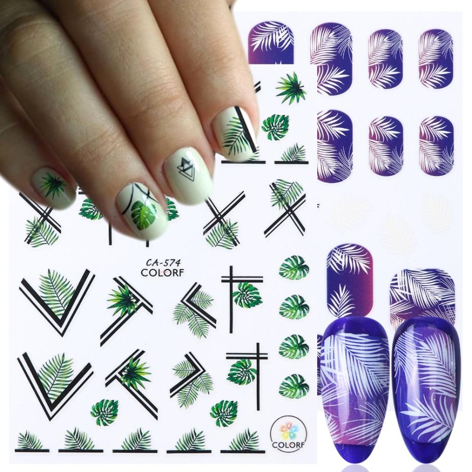 1 pieza flores hojas diseños esmalte de uñas pegatina 3D deslizadores adhesivos de manicura para decoración artística de uñas puntas Oro Negro LACA570-580