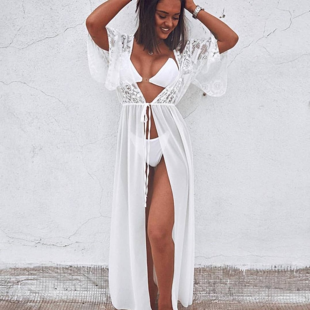 Roupa de praia feminina, vestido de verão de renda de crochê, vestido solto, para praia, elegante, cardigan, feminino, túnica, kaftan