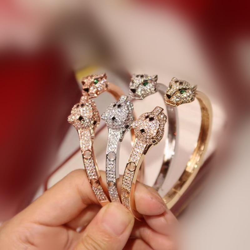 Green Eyes Leopard Cuff Bangle Paved AAA Zircon Panther Animal Design Women Cuff Bracelet Jewelry