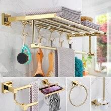 Porte-serviettes et accessoires de salle de bain   Range-serviettes et brosses de toilette en papier, support à crochets en laiton, ensembles de matériel de bain en or