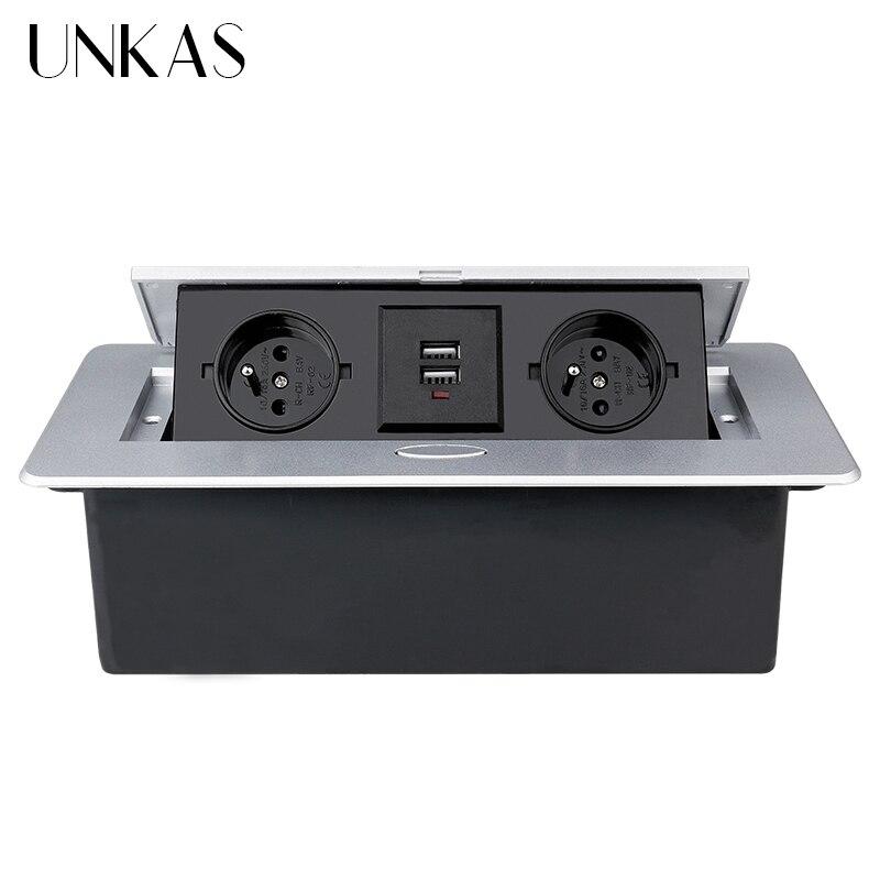 UNKAS سبائك الزنك لوحة بطيئة المنبثقة 2 السلطة الفرنسية المقبس المزدوج منفذ شحن USB 2.1A طاولة مكتبية سطح المكتب المخرج الأسود الصلب صندوق