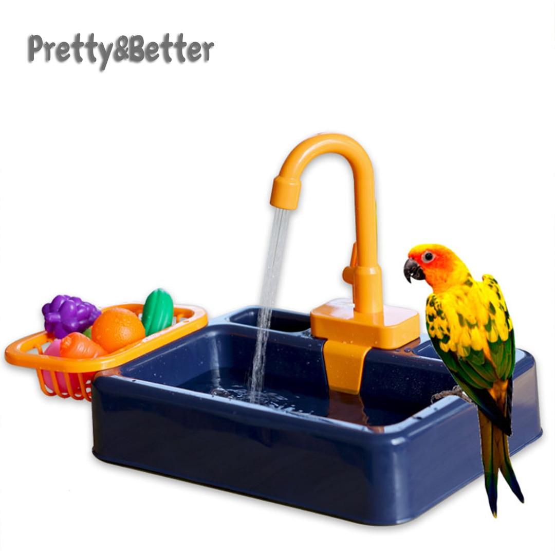 Pretty&Better Parrot  Perch Shower Pet Bird Bath Cage Basin Parrot Bath Basin Parrot Shower Bowl Birds Accessories Parrot Toy