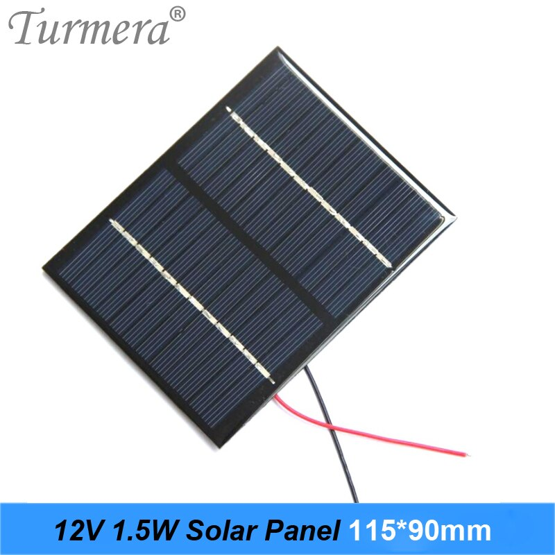 Turmera 12V 1.5W Solar Panel 115x90mm Portable Mini Power System Charging for DIY Batteries Cell Phone Electric Toy and Lamp Use