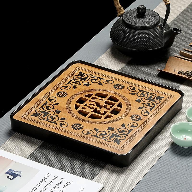 Imitación de cerámica melamina 1 Uds. Bandeja de té de madera de bambú drenaje almacenamiento de agua juego de té mesa de tablero chino taza de té Cer