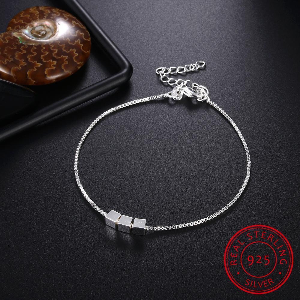 Pulseras Cube de Plata de Ley 925 para mujer tres pulseras y brazaletes de caja cuadrada pulseira joyería fina