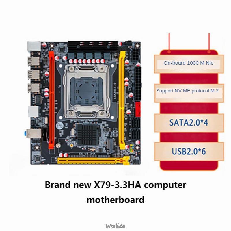 جديد X79-3.3HA لوحة أم للكمبيوتر 2011 دبوس يدعم DDR3 خادم ECC E5-2670 الذاكرة عدة x99 Xeon e5 2620 v3 عدة ryzen بلاسا mae
