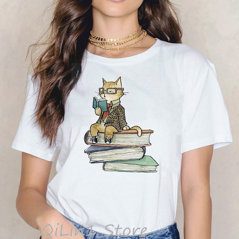 Cats love reading book funny t shirts women kawaii tshirt summer 2020 white female t-shirt cute animal print cats lover tops tee